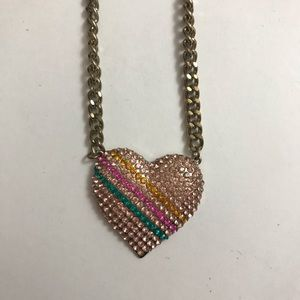 Topshop chunky, diamanté heart 90s necklace